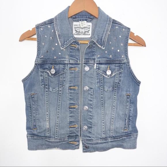 Levi's Star Studded denim jean vest jacket xs